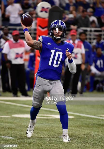 Jordan Ta'Amu of the St Louis Battlehawks passes during the first half of an XFL game against the NY Guardians at The Dome at America Center on...