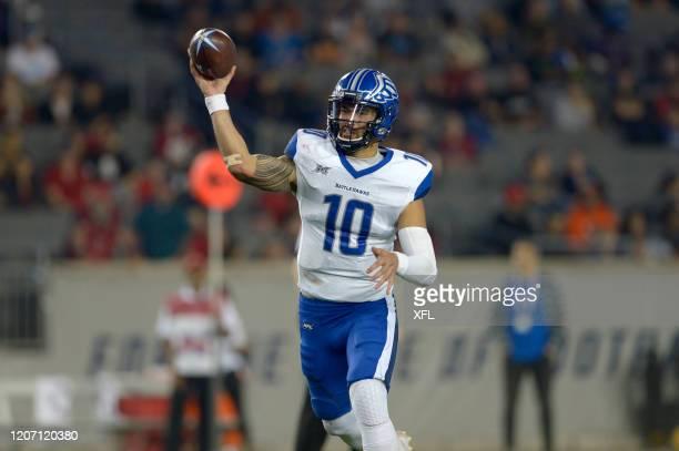 Jordan Ta'amu of the St Louis BattleHawks passes the ball against the Houston Roughnecks at TDECU Stadium on February 16 2020 in Houston Texas