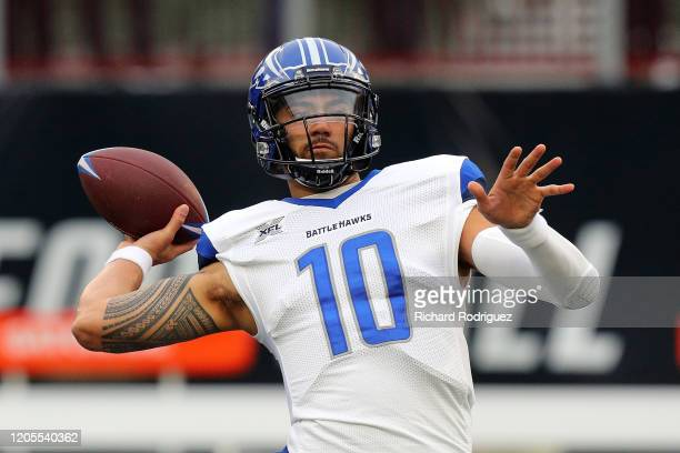 Jordan Ta'amu of the St Louis Battlehawks passes the ball during warmups before the XFL football game against the Dallas Renegades on February 09...