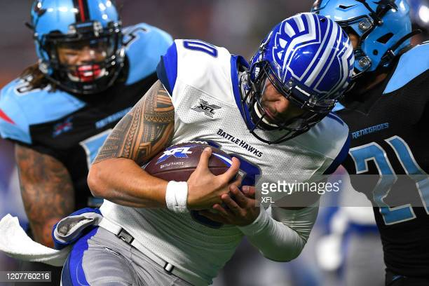 Jordan Ta'amu of the St Louis BattleHawks scrambles during the XFL game against the Dallas Renegades at Globe Life Park on February 9 2020 in...