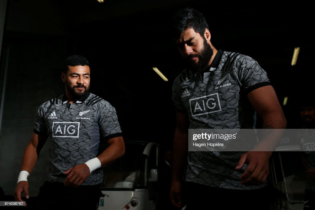 Jordan Taufua and Akira Ioane look on during a New Zealand All Blacks training session at Westpac Stadium on June 14, 2018 in Wellington, New Zealand.