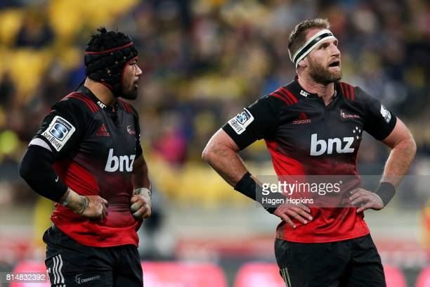 Jordan Taufua and Kieran Read of the Crusaders look on during the round 17 Super Rugby match between the Hurricanes and the Crusaders at Westpac...