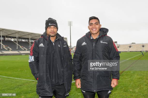 Jordan Taufua and Michael Alaalatoa pose prior to the Crusaders Super Rugby captain's run at AMI Stadium on March 22 2018 in Christchurch New Zealand