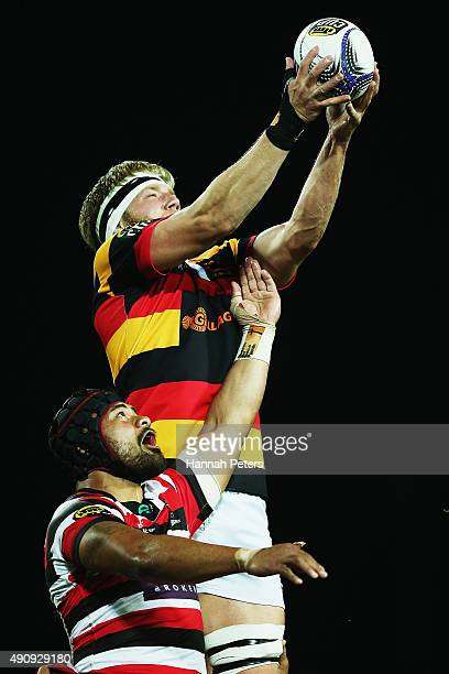 Jordan Taufua of Counties Manukau competes with James Tucker of Waikato in the lineout during the round 8 ITM Cup match between Waikato and Counties...