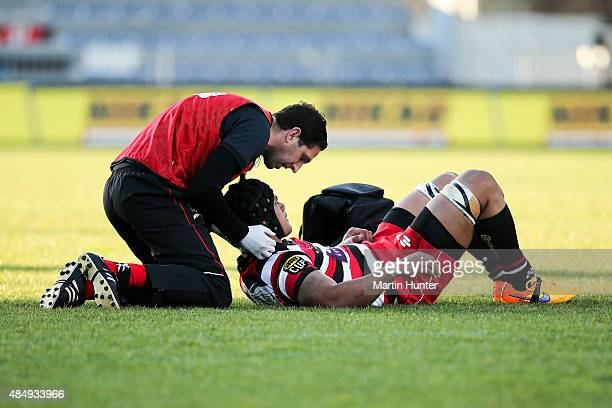 Jordan Taufua of Counties Manukau is seen by doctors after a head knock during the round two ITM Cup match between Canterbury and Counties Manukau at...