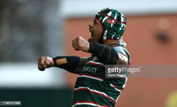 Jordan Taufua of Leicester Tigers celebrates after scoring their second try during the Gallagher Premiership Rugby match between Leicester Tigers and...