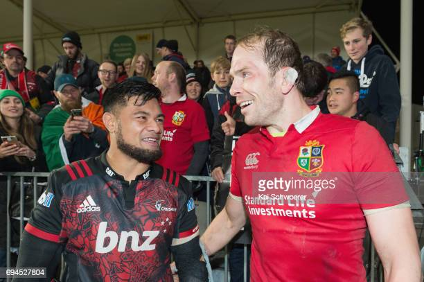 Jordan Taufua of the Crusaders and Alun Wyn Jones of the Lions react following the match between the Crusaders and the British Irish Lions at AMI...