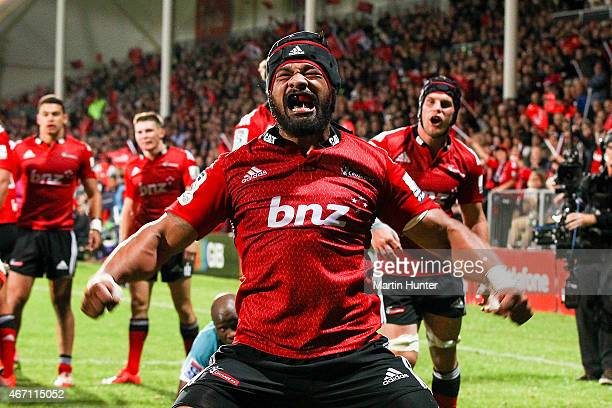 Jordan Taufua of the Crusaders celebrates after scoring a try during the round six Super Rugby match between the Crusaders and the Cheetahs at AMI...