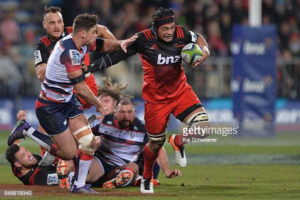 Jordan Taufua of the Crusaders charges forward during the round 16 Super Rugby match between the Crusaders and the Rebels at AMI Stadium on July 9...