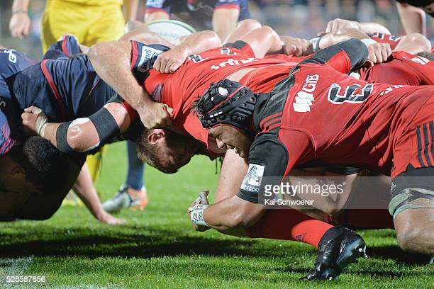 Jordan Taufua of the Crusaders in scrum action during the round 11 Super Rugby match between the Crusaders and the Reds at AMI Stadium on May 6 2016...
