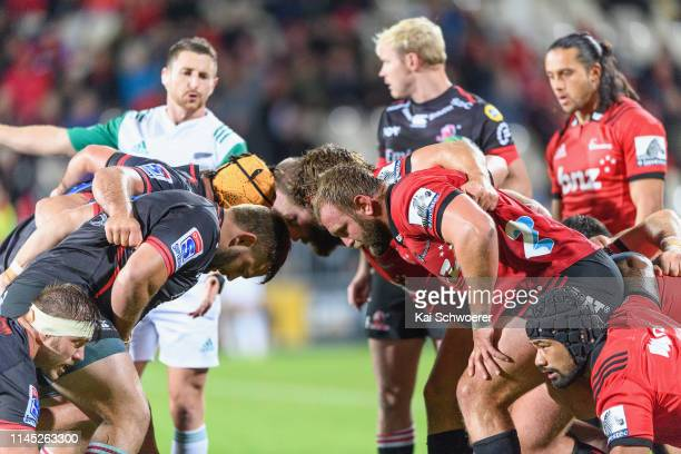 Jordan Taufua of the Crusaders looks on as the scrum packs during the round 11 Super Rugby match between the Crusaders and Lions at Christchurch...