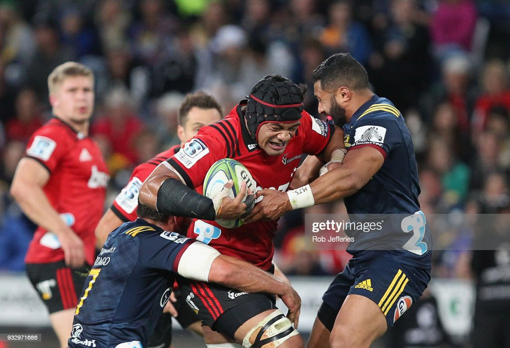 Jordan Taufua of the Crusaders on the charge during the round five Super Rugby match between the Highlanders and the Crusaders at Forsyth Barr Stadium on March 17, 2018 in Dunedin, New Zealand.