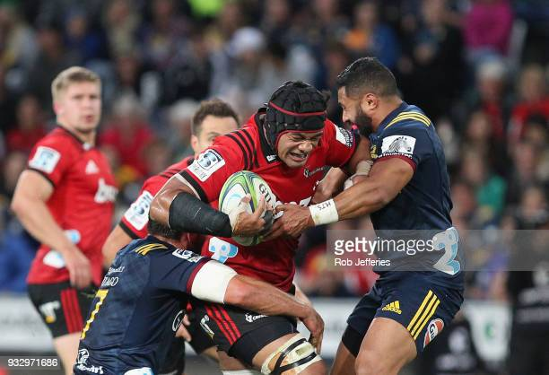 Jordan Taufua of the Crusaders on the charge during the round five Super Rugby match between the Highlanders and the Crusaders at Forsyth Barr...