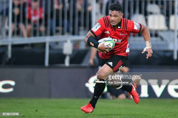 Jordan Taufua of the Crusaders runs through to score a try during the round two Super Rugby match between the Crusaders and the Chiefs at AMI Stadium...