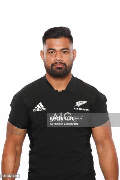 Jordan Taufua poses during a New Zealand All Blacks headshots session on May 21 2018 in Auckland New Zealand