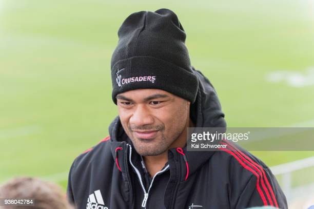 Jordan Taufua speaks to the media prior to the Crusaders Super Rugby captain's run at AMI Stadium on March 22 2018 in Christchurch New Zealand