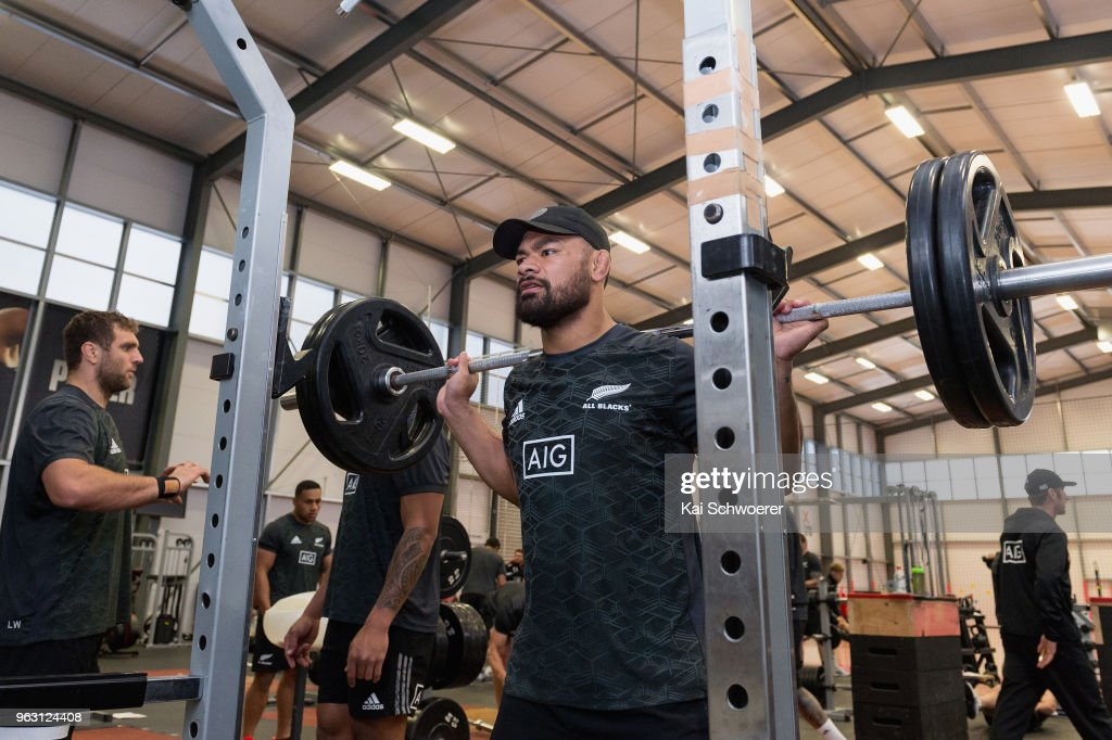 Jordan Taufua works out during a New Zealand All Blacks gym session at the Apollo Projects Centre high performance training facility on May 28, 2018 in Christchurch, New Zealand.