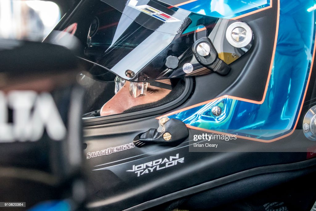 Jordan Taylor is shown in the garage before the Rolex 24 at Daytona at Daytona International Speedway on January 26, 2018 in Daytona Beach, Florida.