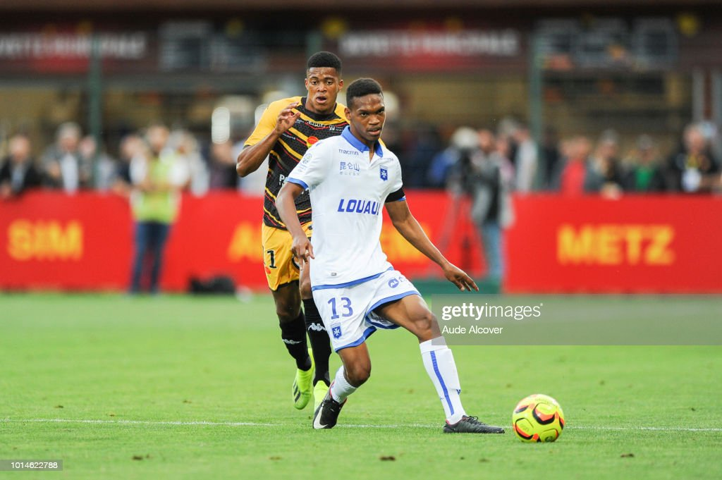 Jordan Tell of Orleans and Kenji Van Boto of Auxerre during the French Ligue 2 match between Orleans and Auxerre on August 10, 2018 in Orleans, France.