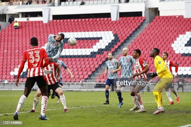 Jordan Teze of PSV Eindhoven, Nick Viergever or PSV Eindhoven, Sebastien Haller of Ajax, Daley Blind of Ajax, Davy Klaassen of Ajax, Denzel Dumfries...