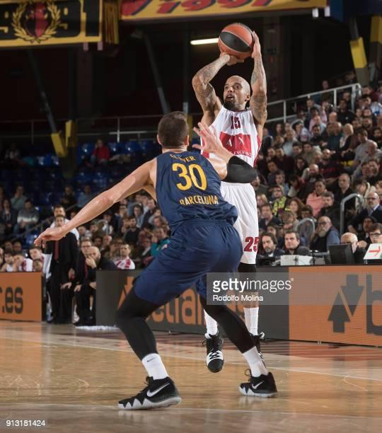 Jordan Theodore #25 of AX Armani Exchange Olimpia Milan in action during the 2017/2018 Turkish Airlines EuroLeague Regular Season Round 21 game...