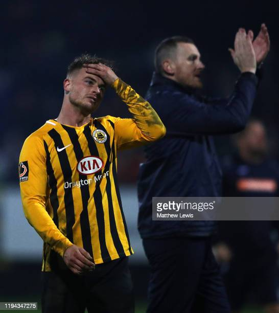 Jordan Thewis of Boston United looks on, after the final whistle during the FA Cup Second Round Replay match between Boston United and Rochdale at...