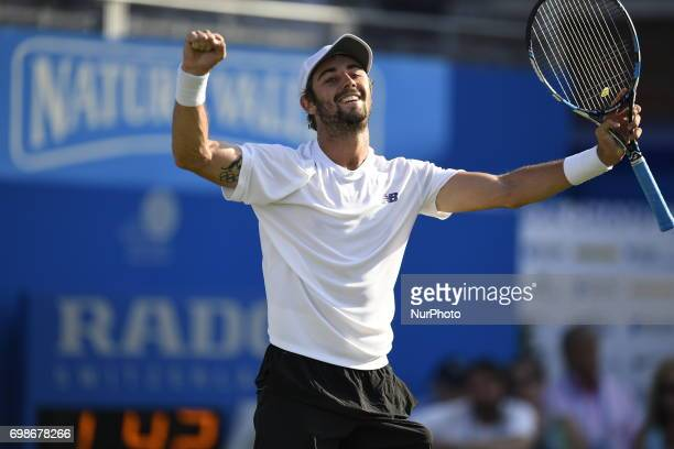 Jordan Thompson against Andy Murray GBR during Round One match on the second day of the ATP Aegon Championships at the Queen's Club in west London on...