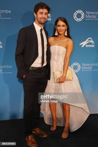 Jordan Thompson and Moncia Brown pose arrives at the 2017 Newcombe Medal at Crown Palladium on November 27 2017 in Melbourne Australia
