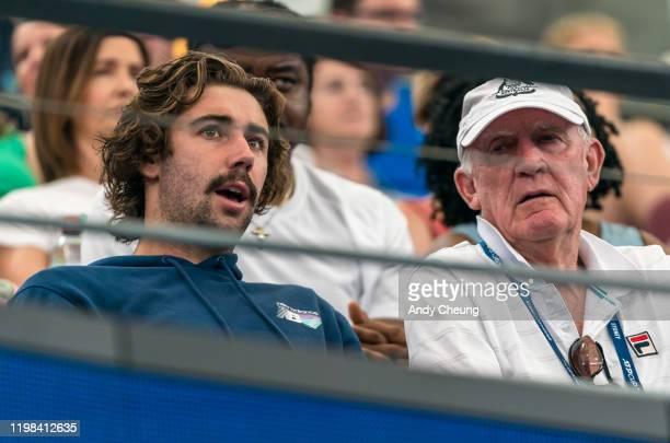 Jordan Thompson, Australian tennis player and Tony Roche, Australian tennis coach, supports Team Australia during the quarter final singles match...