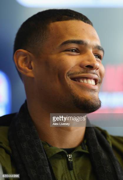 Jordan Thompson faces the media during a boxing press conference at City Academy on February 15 2017 in Manchester England