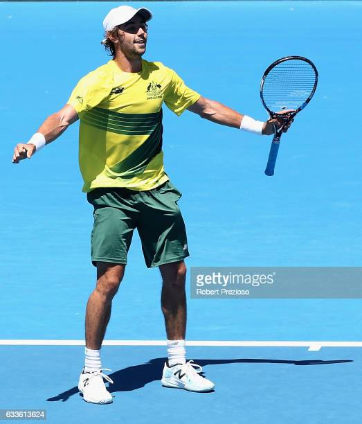 Jordan Thompson of Australia celebrates a win in his singles match against Jiri Vesely of Czech Republic during the first round World Group Davis Cup...