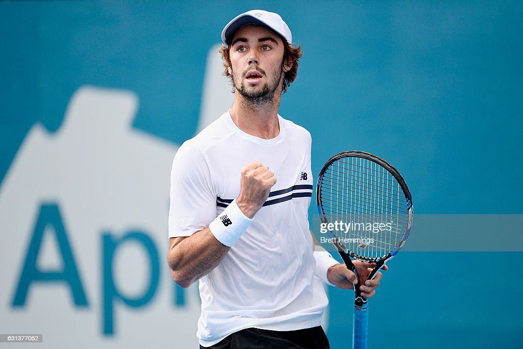 Jordan Thompson of Australia celebrates after winning a point in his first round match against Nikoloz Basilashvili of Georgia during day three of the 2017 Sydney International at Sydney Olympic Park Tennis Centre on January 10, 2017 in Sydney, Australia.