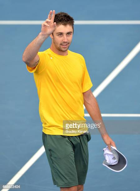 Jordan Thompson of Australia celebrates victory after his match against Jack Sock of the USA during the Davis Cup World Group Quarterfinals between...
