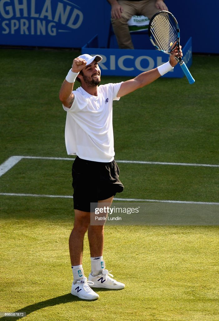 Jordan Thompson of Australia celebrates victory during the mens singles first round match against Andy Murray of Great Britain on day two of the 2017 Aegon Championships at Queens Club on June 20, 2017 in London, England.