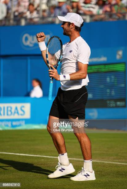 Jordan Thompson of Australia celebrates victory during the mens singles first round match against Andy Murray of Great Britain on day two of the 2017...
