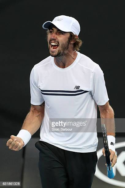 Jordan Thompson of Australia celebrates winning his first round match against Joao Sousa of Portugal on day two of the 2017 Australian Open at...