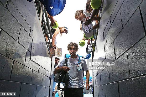 Jordan Thompson of Australia leaves the court after winning his first round match against Joao Sousa of Portugal on day two of the 2017 Australian...