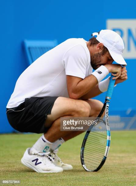 Jordan Thompson of Australia looks dejected during the mens singles second round match against Sam Querry of The United States on day four of the...