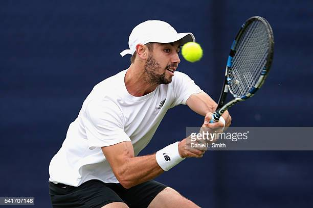 Jordan Thompson of Australia plays a backhand during his men's singles match against Benjamin Becker of Germany during day one of the ATP Aegon Open...