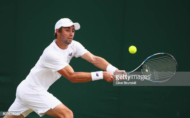 Jordan Thompson of Australia plays a backhand during the Gentlemen's Singles first round match against Albert RamosVinolas of Spain on day two of the...