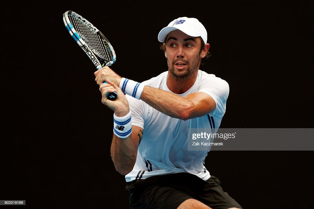 Jordan Thompson of Australia plays a backhand in his first round match against Paolo Lorentzi of Italy during day one of the 2018 Sydney International at Sydney Olympic Park Tennis Centre on January 7, 2018 in Sydney, Australia.