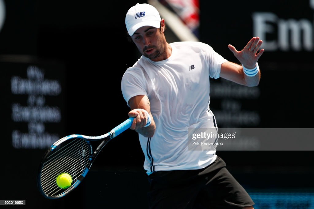 Jordan Thompson of Australia plays a forehand in his first round match against Paolo Lorentzi of Italy during day one of the 2018 Sydney International at Sydney Olympic Park Tennis Centre on January 7, 2018 in Sydney, Australia.
