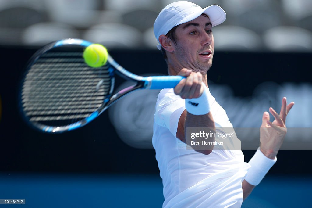 Jordan Thompson of Australia plays a forehand shot in his match against Martin Klizan of Slovakia during day two of the 2016 Sydney International at Sydney Olympic Park Tennis Centre on January 11, 2016 in Sydney, Australia.