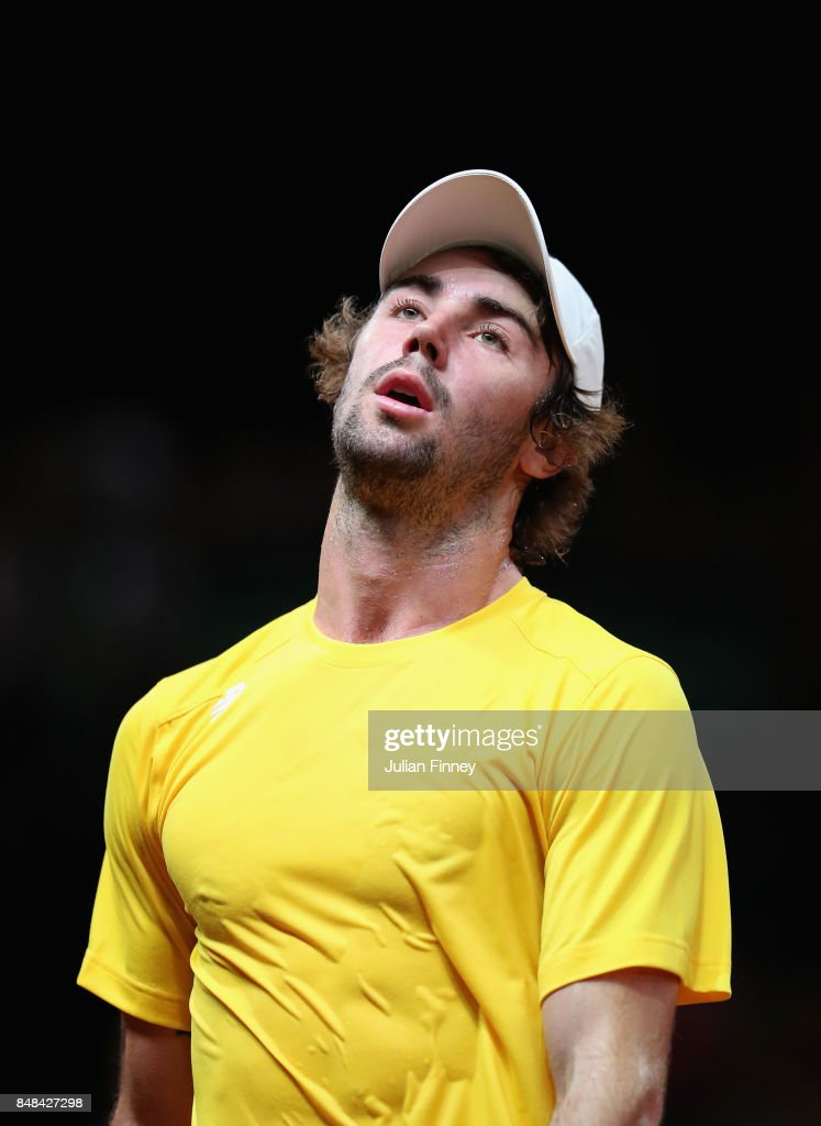 Jordan Thompson of Australia reacts after losing a point in his match against Steve Darcis of Belgium during day three of the Davis Cup World Group semi final match between Belgium and Australia at Palais 12 on September 17, 2017 in Brussels, Belgium.