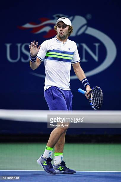 Jordan Thompson of Australia reacts against Thomas Fabbiano of Italy during their second round Men's Singles match on Day Three of the 2017 US Open...