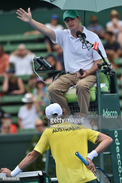 Jordan Thompson of Australia remonstrates with the chair umpire during the fifth rubber against Jan Satral of the Czech Republic during the Davis Cup...