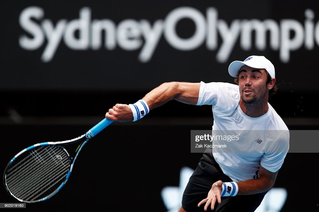 Jordan Thompson of Australia serves in his first round match against Paolo Lorentzi of Italy during day one of the 2018 Sydney International at Sydney Olympic Park Tennis Centre on January 7, 2018 in Sydney, Australia.