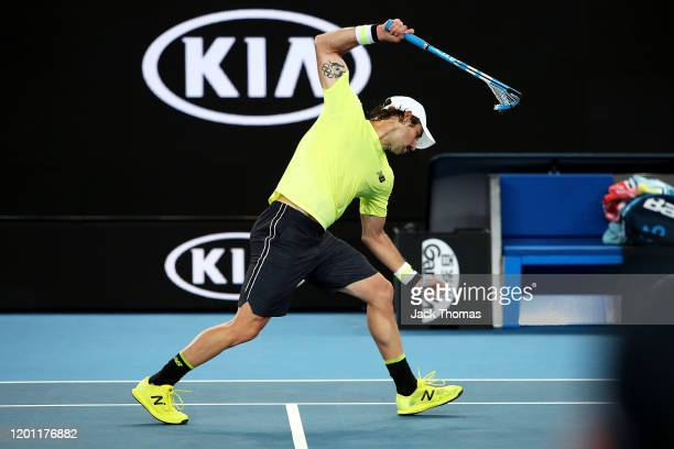 Jordan Thompson of Australia smashes his racquet during his Men's Singles second round match against Fabio Fognini of Italy on day three of the 2020...