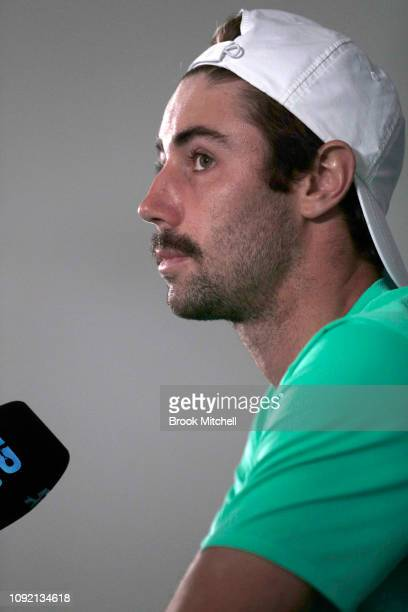 Jordan Thompson of Australia speaks to the media after his loss on day five of the 2019 Sydney International at the Sydney Olympic Tennis Centre on...