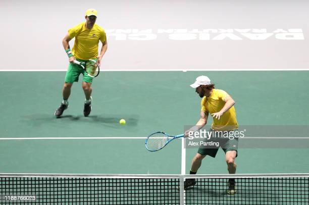 Jordan Thompson of Australia volleys during Day 2 of the 2019 Davis Cup at La Caja Magica on November 19, 2019 in Madrid, Spain.